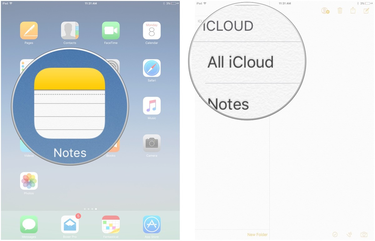 Selecting the Notes app on iPad