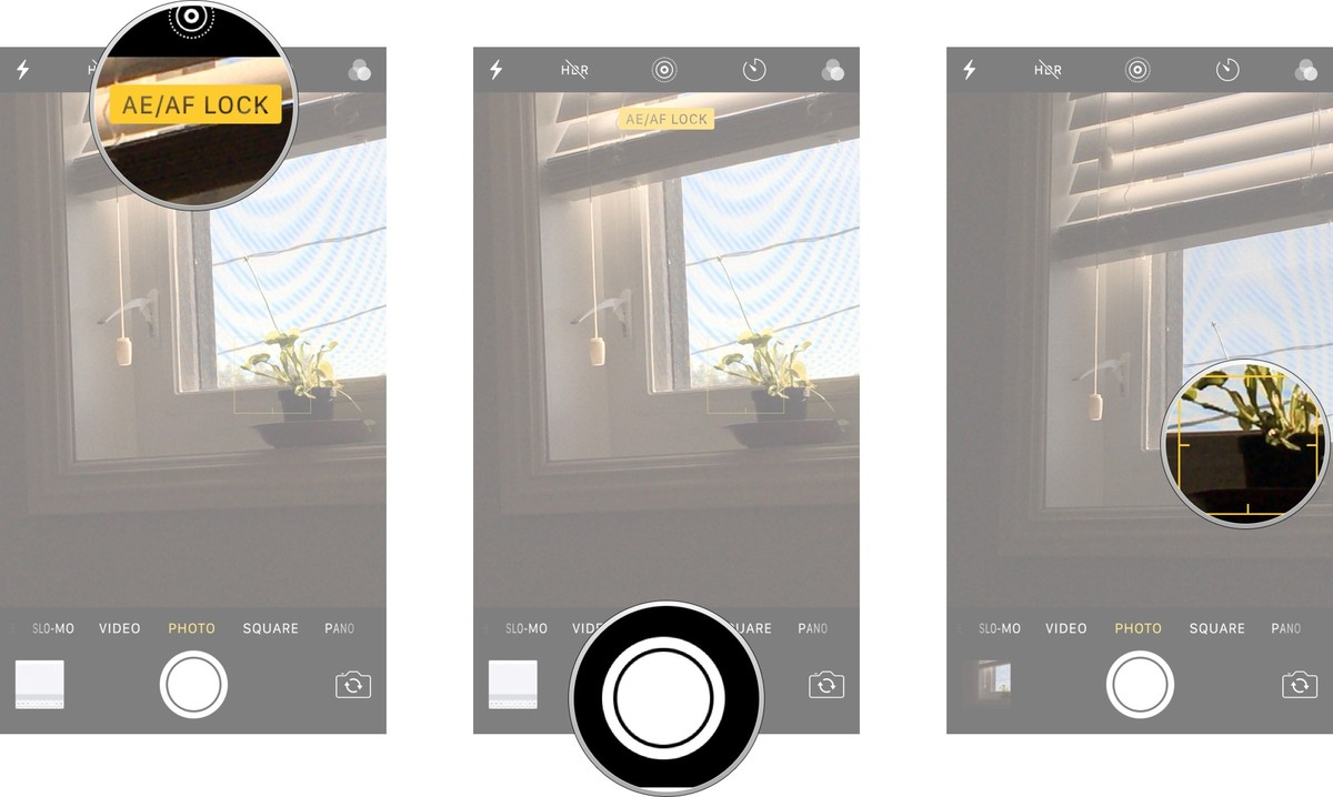 Tap and hold on your focal point until you see the AE/AF Lock banner, tap the shutter to take your photo, tap anywhere on the screen to release the lock