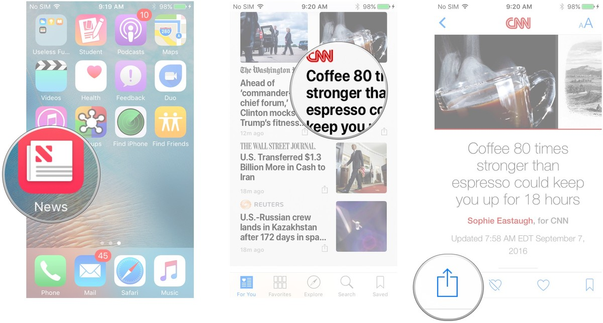Launch the News app, tap and article or channel, tap the Share Sheet button