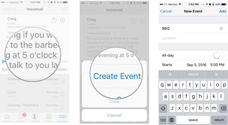 Adding a Calendar event from a voicemail transcript on iPhone