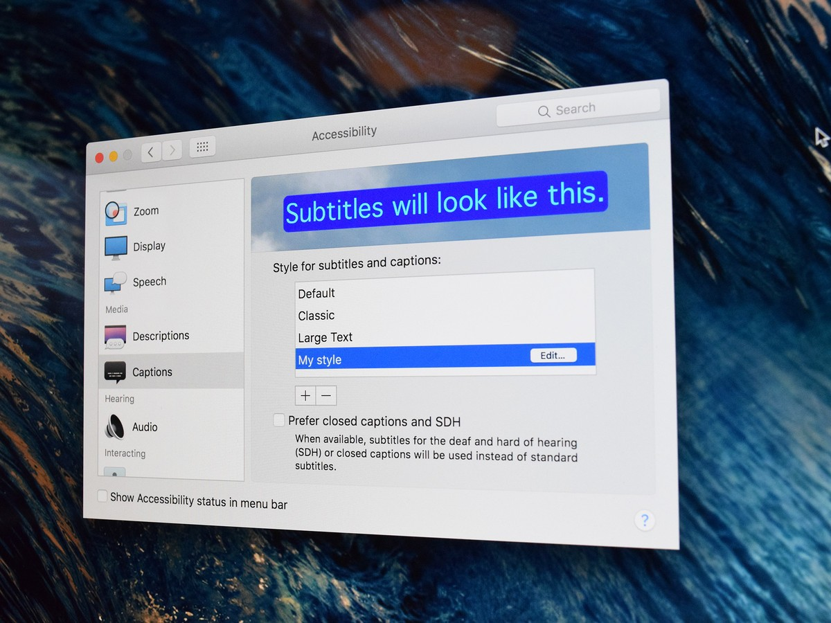 How to change the look of closed captions on Mac