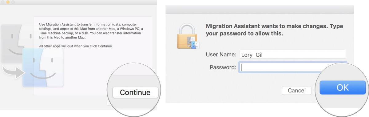 Click OK, then enter your administrator password