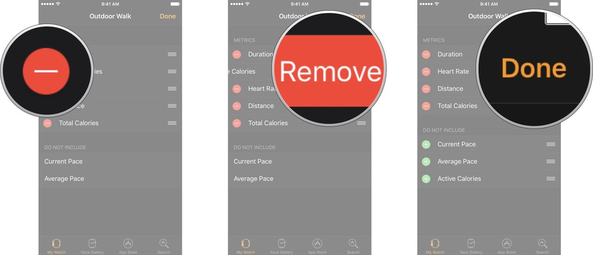 Tap the remove button net to the metric you want to hide, tap remove, and then tap Done.