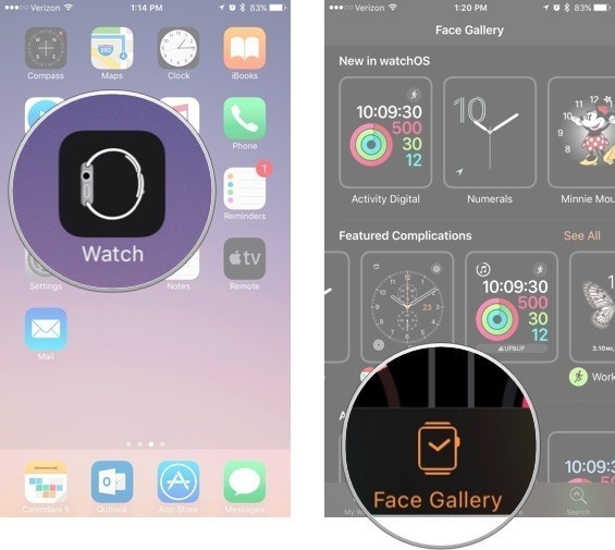 Open the Watch app on iPhone and then select Face Gallery