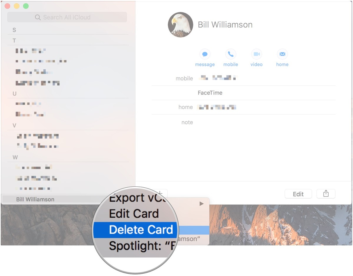Right-click name and select Delete