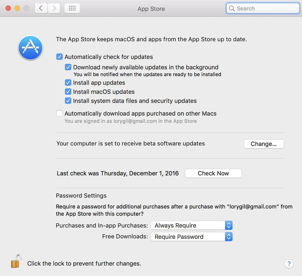 Tick the boxes for automatic updates