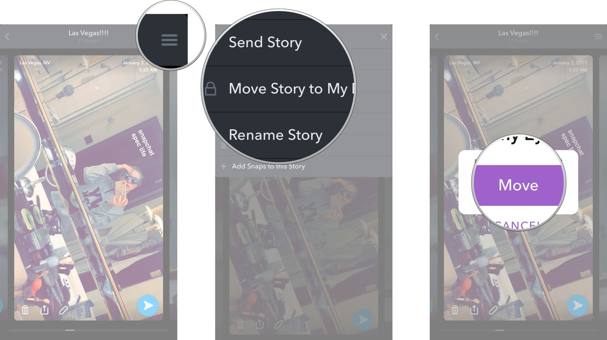 how use memories on snapchat imore tap move