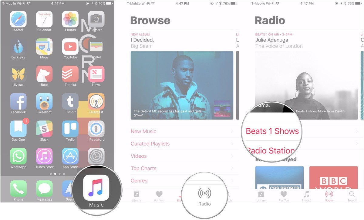 Open Music, tap Radio, tap Beats 1 Shows