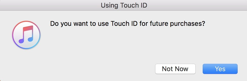 Request to use Touch ID on Mac for iTunes purchases