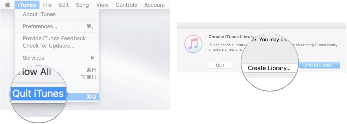 Quit iTunes, then launch iTunes while holding the Option key, then click on create library
