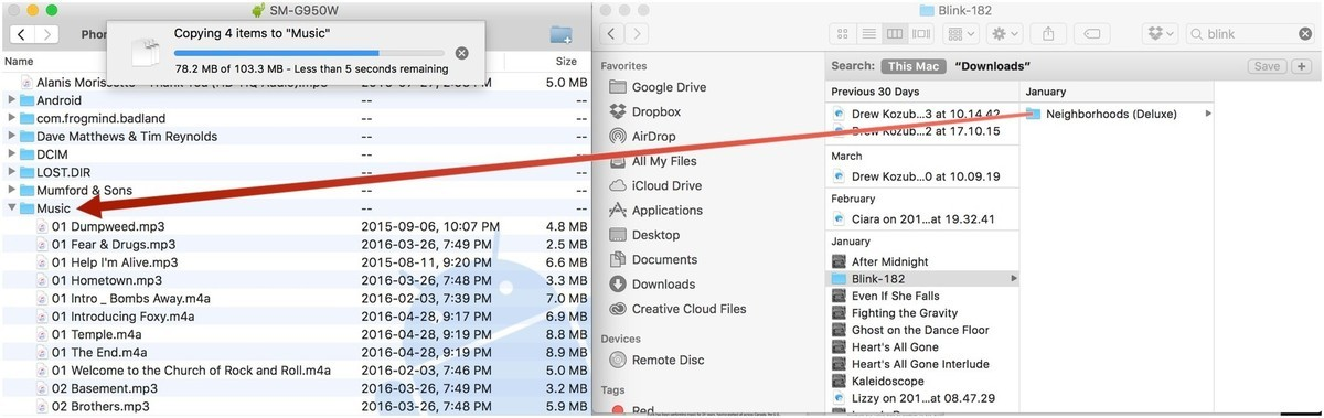 Drag and drop files from Finder to AFT or vice versa.