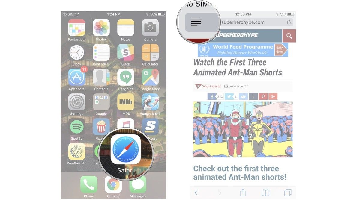 Launch Safari, navigate to a website, tap the Reader button