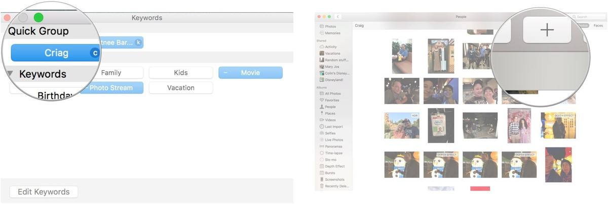 Select the new keyword to sync, Then, select the photo Add tool