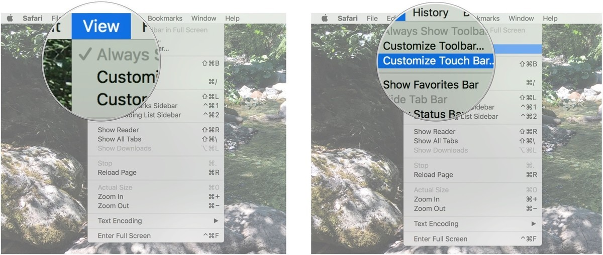 Click on View, then click on Customize Touch Bar