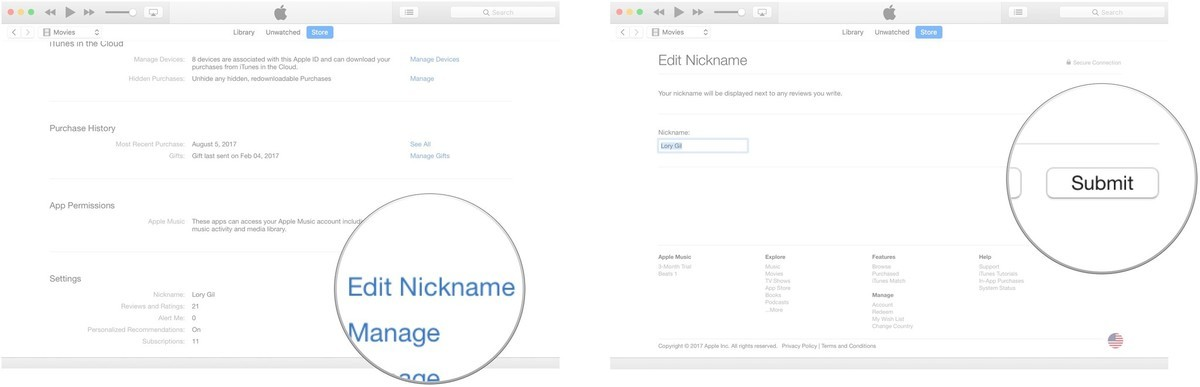 Click on Edit Nickname, then change the nickname and click on Submit