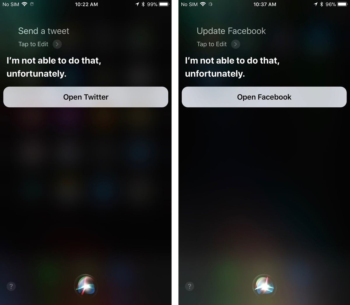 Siri with Facebook and Twitter