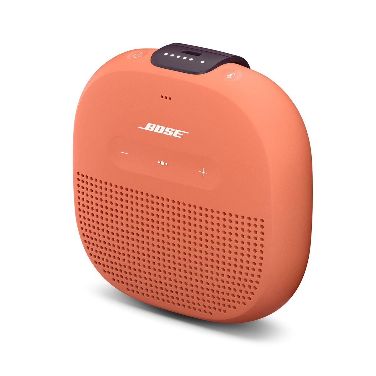 Side view of Bose's SoundLink Micro Bluetooth speaker in orange against a white background