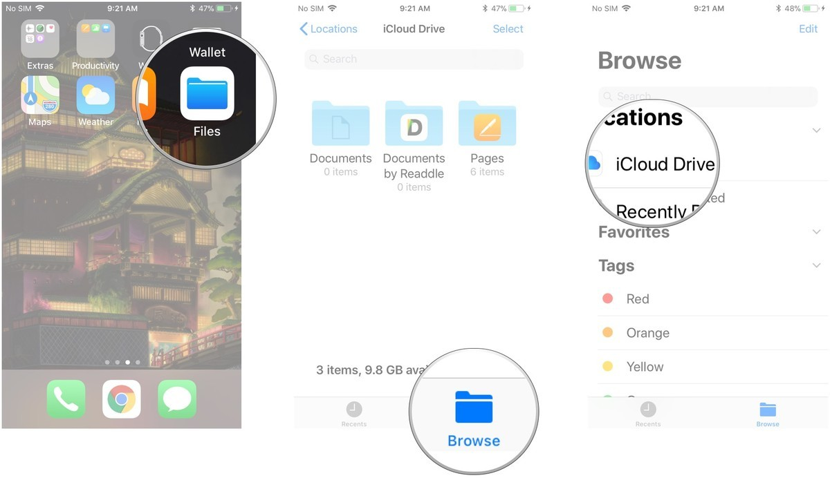 Launch the Files app, tap Browse, tap a source