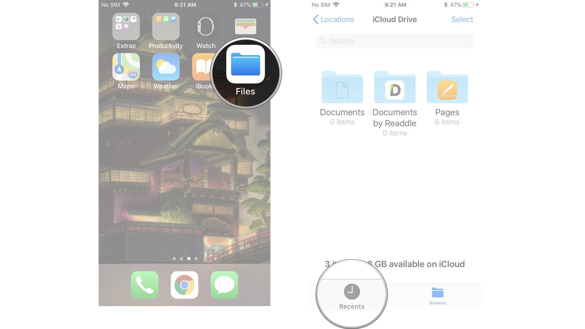 Launch the Files app, tap the Recents button at the bottom of the screen