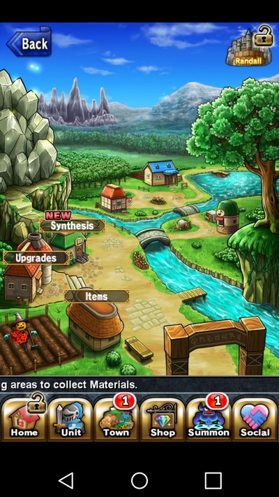 Brave Frontier town screen with sparkling mountain in upper left corner