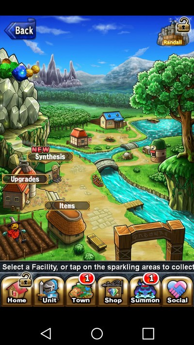 Brave Frontier town screen with free items cascading from the mountain