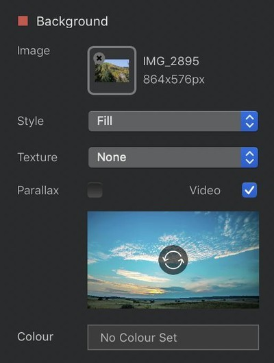 Video backgrounds are easy to add -- but they'd better be smaller than 10MB, or Blocs will get grumpy.