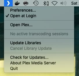 That tiny chevron in the menubar tells you Plex Server's up and running.