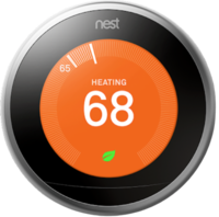 Nest thermostat in silver showing active heating on a white background