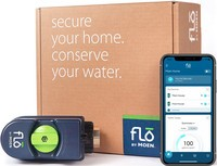 Flo by Moen Smart Water Shutoff next to an iPhone with the associated app