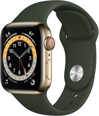 Apple Watch Series 6 Stainless Gold Cypress Green Sport Band