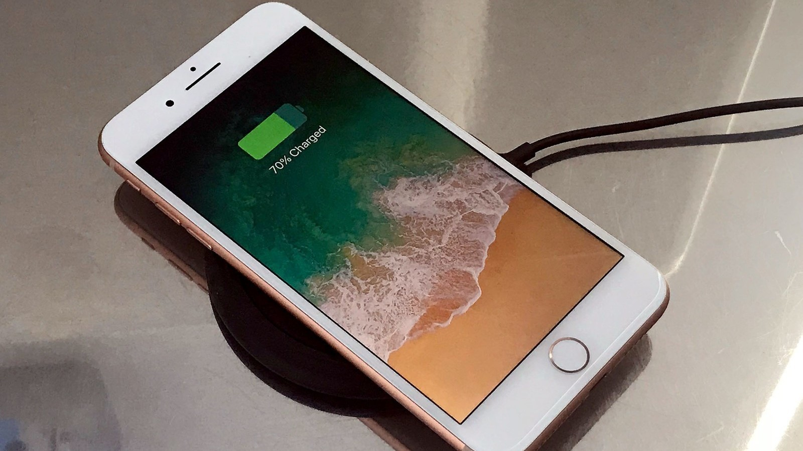 iPhone 8 on wireless charging pad
