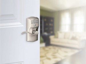 Upgrade to a keyless entry with the Schlage Camelot keypad on sale for $73