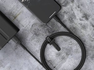 The Nomad Expedition Lightning cable is built with Kevlar for durability