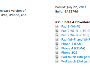 Developers: Apple releases iOS 5 beta 4 for iPhone, iPod touch, iPad, Apple TV, iTunes 10.5 beta 4 for Mac