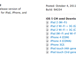 Apple posts iOS 5 GM seed for iPhone, iPad and iPod Touch