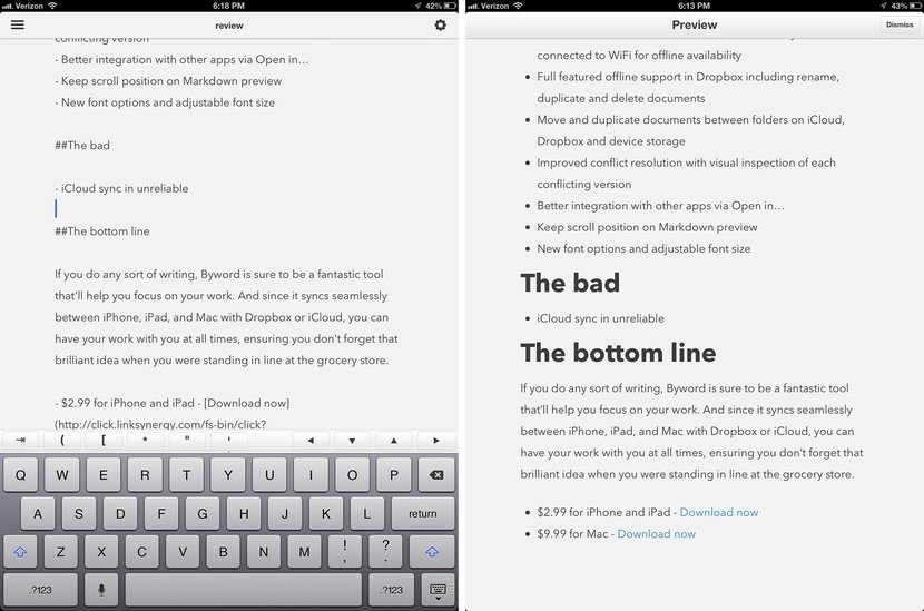 Byword 2 for iPhone, iPad and Mac review: New premium option