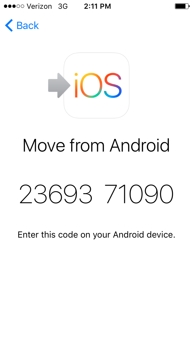 The connection code displayed on the iPhone