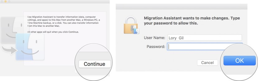 Migrate data from your old Mac to your new Mac showing how to click Continue, enter your administrator password, then click OK