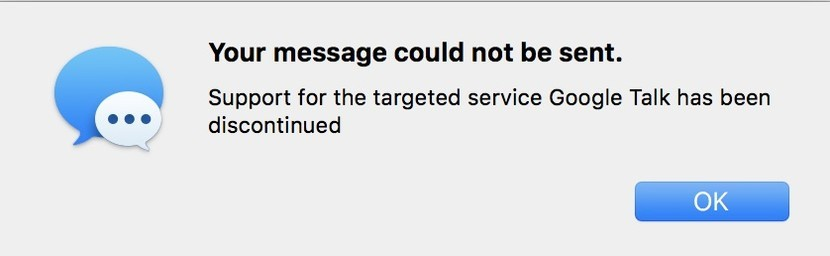 Google chats not working in Messages for Mac in High Sierra