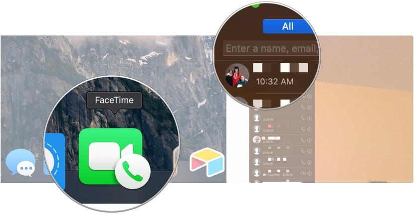 Make FaceTime calls from your Mac, showing how to open FaceTime from your Dock, then enter a name, address, or phone number