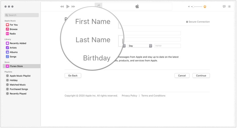 Add your personal information, including first name, last name, and date of birth. Click Continue.
