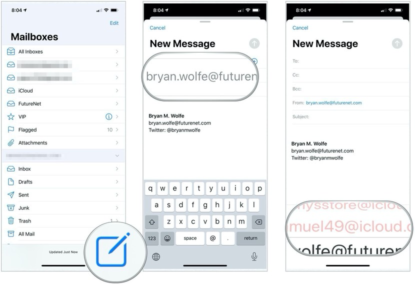 Launch Mail app, tap the compose button, tap the From field, then change account to use at bottom of the screen