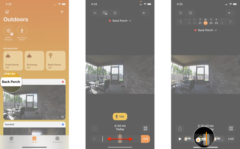 How to delete recorded video in the Home app on the iPhone by showing steps: Tap on the Thumbnail Image for your Camera, Swipe to the Left or Right on the Timeline, Tap on a Motion Event