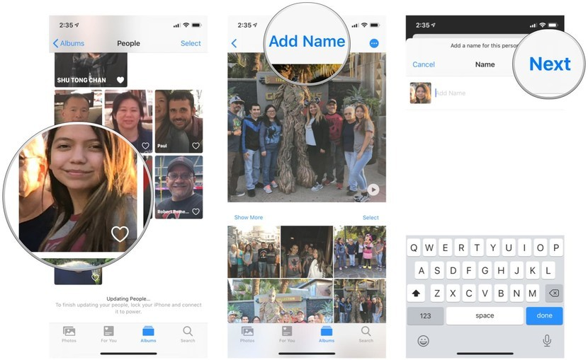 Add names to people in the Photos app on iPhone and iPad by showing steps: In the People album, tap on an unnamed person, tap Add Name, input their name, then Confirm