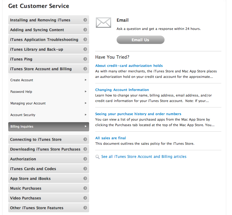 Daily Tip: how to contact iTunes support with billing and