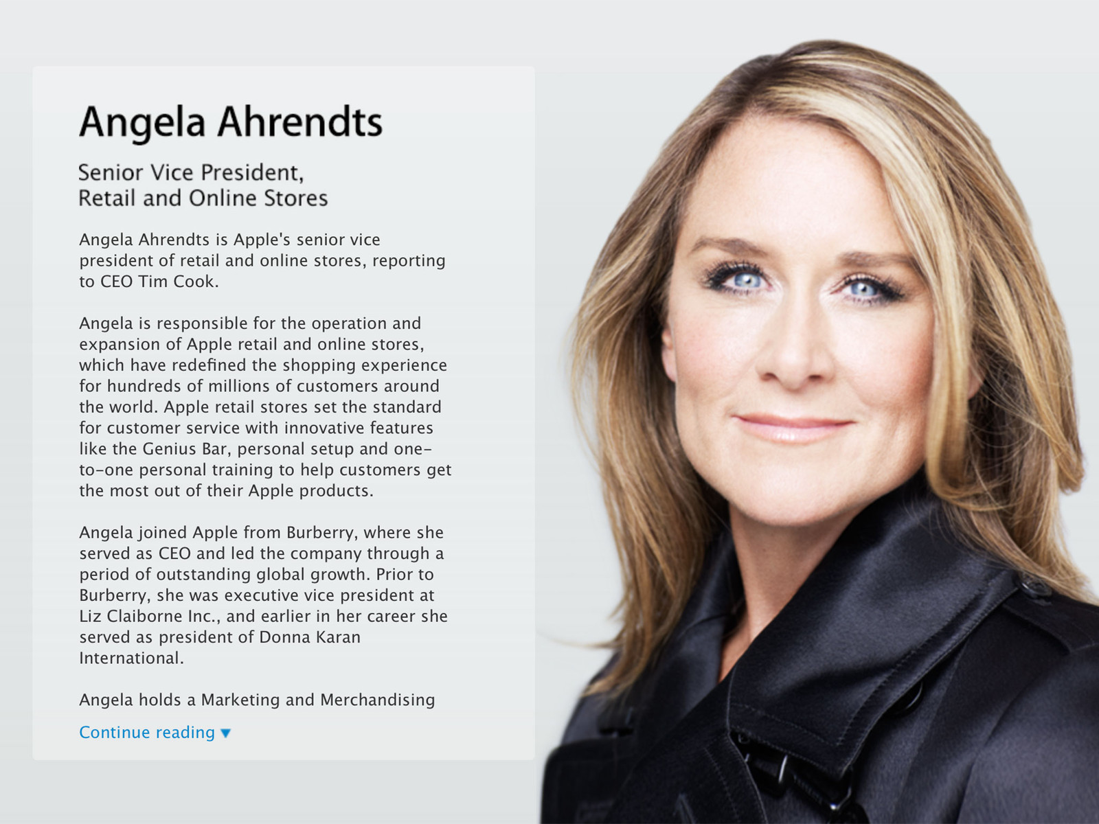 Angela Ahrendts leaves fashion for Apple as new svp of online and retail stores