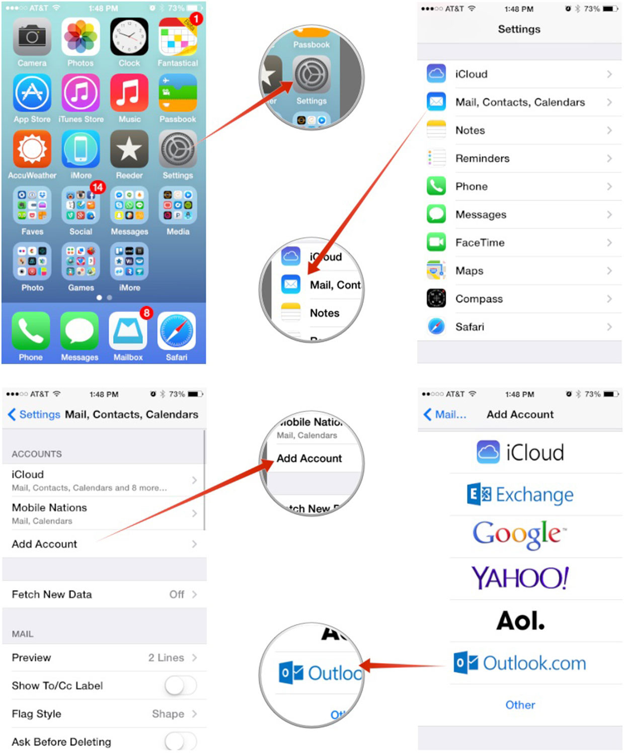 set up Microsoft Outlook mail, calendar, contacts on iPhone and iPad