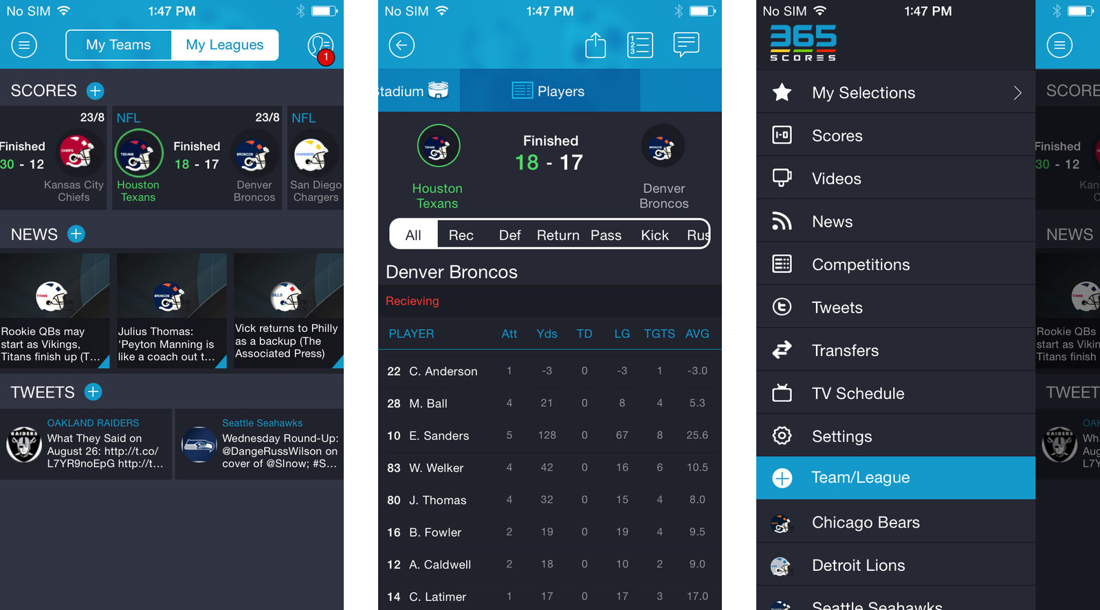 Best NFL apps for iPhone: 365Scores