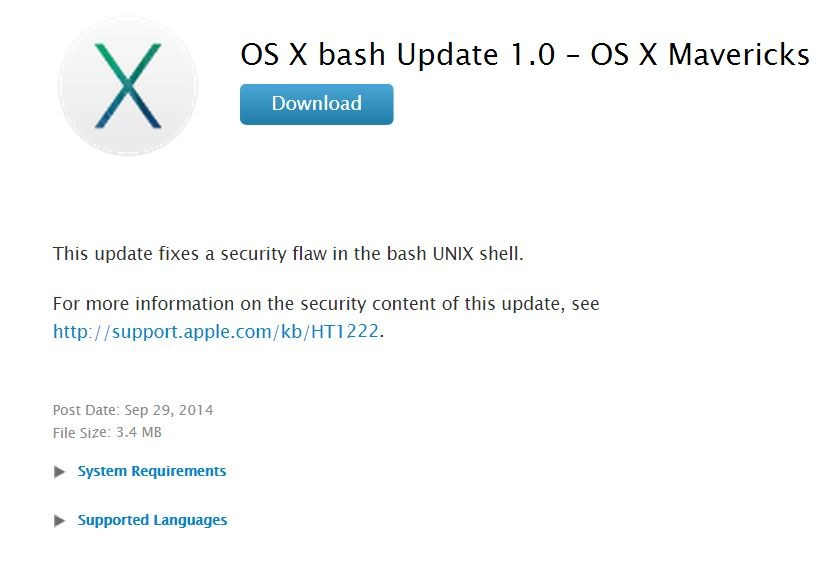 Apple releases OS X bash update to help prevent Shellshock on Macs