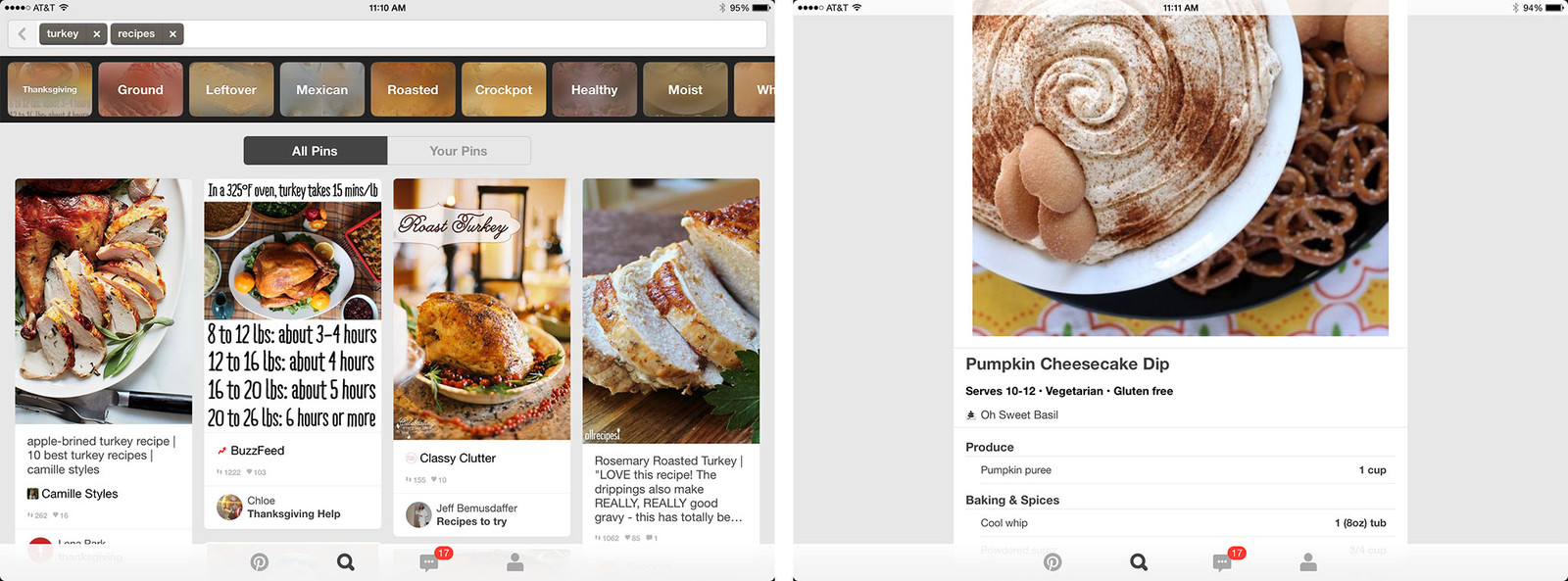 Best Thanksgiving recipe and cooking apps for iPad: Pinterest